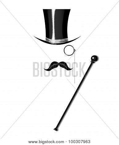 Cylinder, moustache, monocle and cane on white