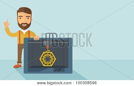 Man with industrial 3D printer. A Contemporary style with pastel palette, soft blue tinted background. Vector flat design illustration. Horizontal layout with text space in right side.
