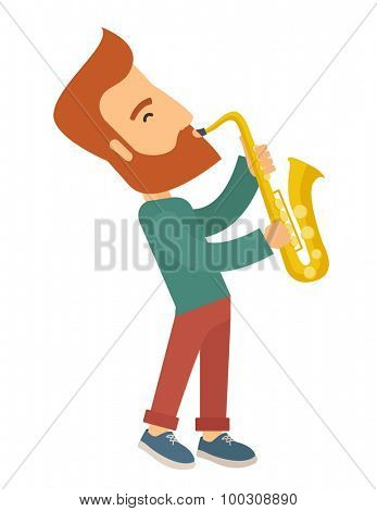 A caucasian saxophonist playing in the streets. Vertical layout