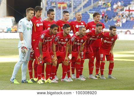 BARCELONA - AUG, 22: Getafe CF lineup before a Spanish League match against RCD Espanyol at the Estadi Cornella on August 22, 2015 in Barcelona, Spain