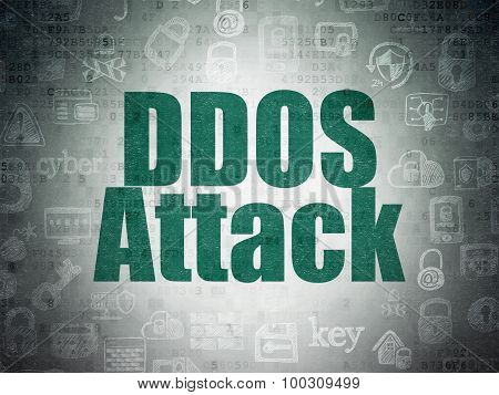 Protection concept: DDOS Attack on Digital Paper background