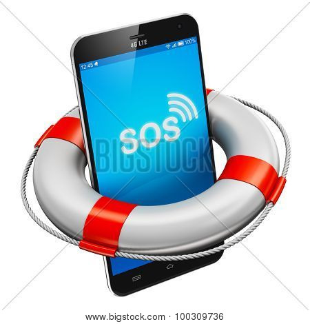 Smartphone and lifesaver buoy