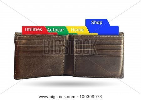 The Folder Shopping Concept On Brown Wallet Isolated White Background.