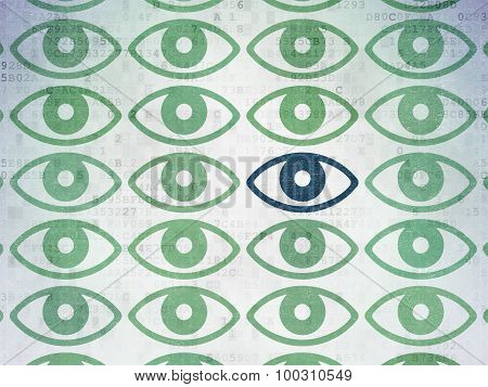 Safety concept: eye icon on Digital Paper background