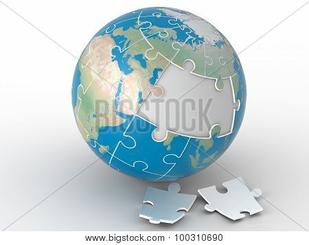 World jigsaw,world puzzle on white background