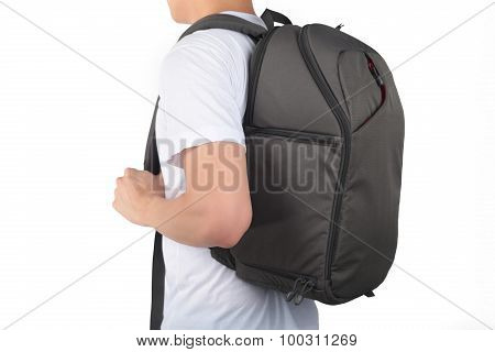 Young Man Standing With Travel Backpack Equipments Isolated White Background