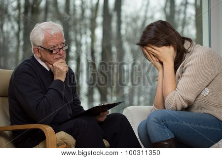 Young Woman Crying During Therapy