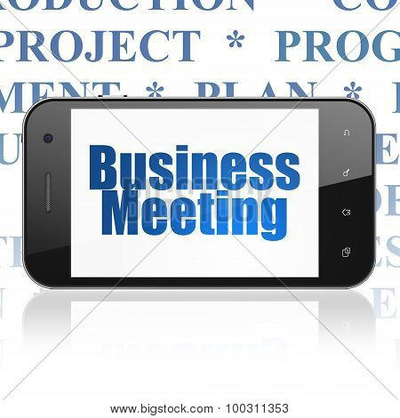 Finance concept: Smartphone with Business Meeting on display