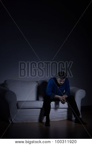Lonely Man In Empty Apartment