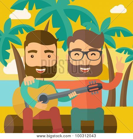 Two caucasian happy playing a guitar at the beach under a palm tree.  Vector flat design illustration. Square layout.