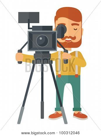 A caucasian videographer taking a video. A Contemporary style. Vector flat design illustration isolated white background. Vertical layout