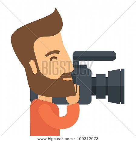 A caucasian videographer with his video camcorder. A Contemporary style. Vector flat design illustration isolated white background. Square layout.