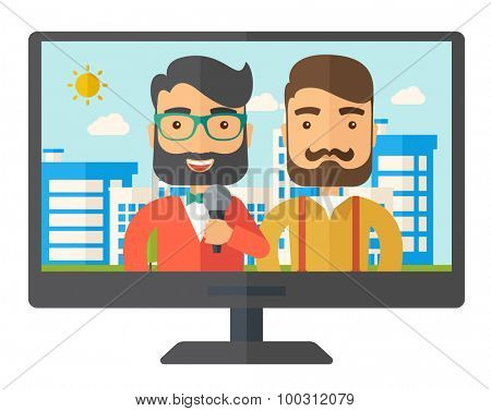 Breaking news in a televesion. A Contemporary style. Vector flat design illustration isolated white background. Horizontal layout