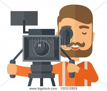 A caucasian videographer close up taking a video. A Contemporary style. Vector flat design illustration isolated white background. Vertical layout