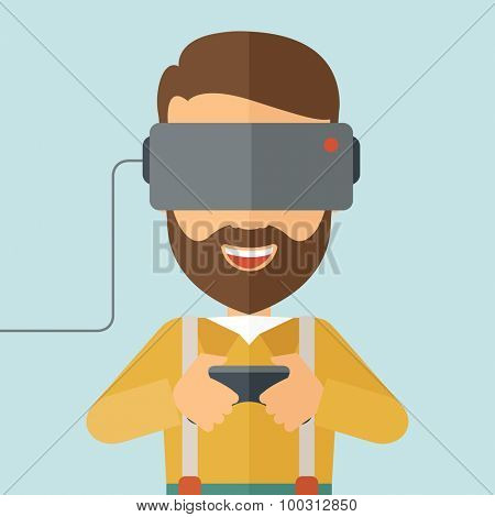 A caucasian wearing with virtual reality headset with remote control. A Contemporary style with pastel palette, soft blue tinted background. Vector flat design illustration. Square layout.