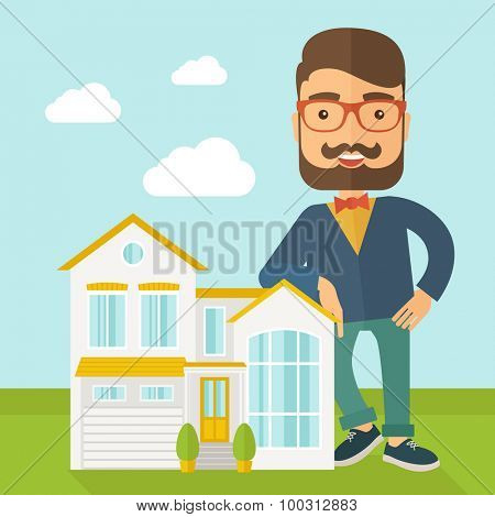 A real estate agent poses for use in advertising to sell the house. A Contemporary style with pastel palette, soft blue tinted background with desaturated clouds. Vector flat design illustration