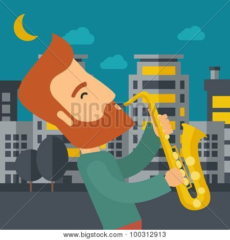 A caucasian saxophonist playing in the streets at night with moon and clouds. Vector flat design illustration. Square layout.