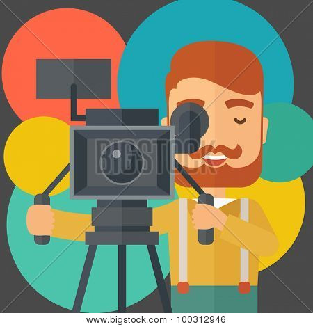 A caucasian videographer taking a video. A contemporary style with pastel palette black tinted and colorful round background. Vector flat design illustration. Square layout.
