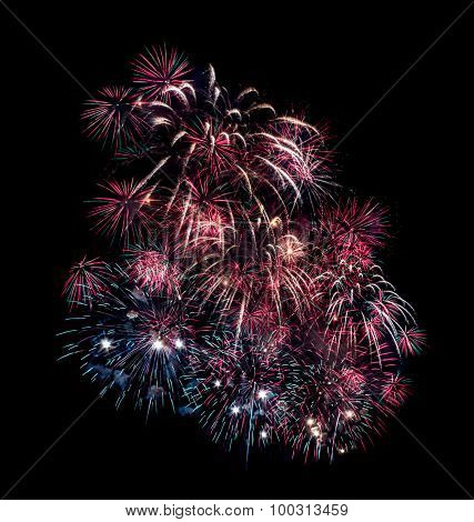 Fireworks exploding against dark sky
