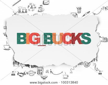 Finance concept: Big bucks on Torn Paper background