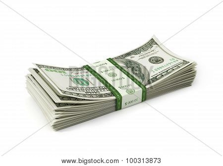 Dollars Paper Stack isolated on white background
