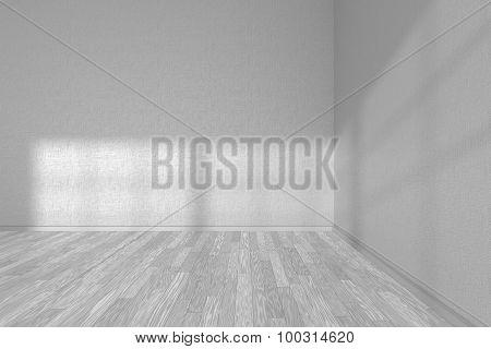 Corner Of White Empty Room With White Parquet Floor