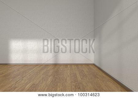Corner Of White Empty Room With Parquet Floor