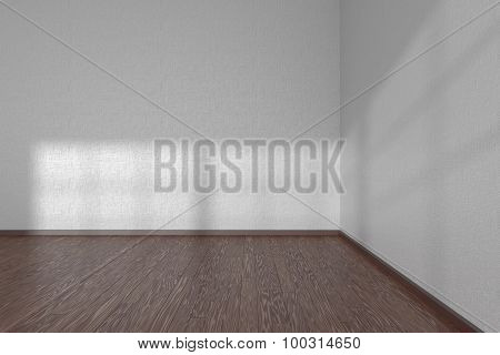 Corner Of White Empty Room With Dark Parquet Floor