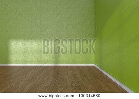 Corner Of Green Empty Room With Parquet Floor
