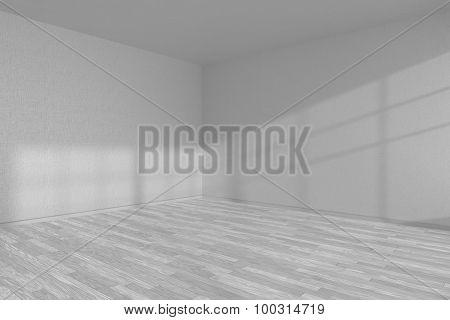 White Empty Room Corner With White Parquet Floor