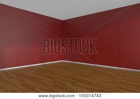 Red Empty Room Corner With Parquet Floor