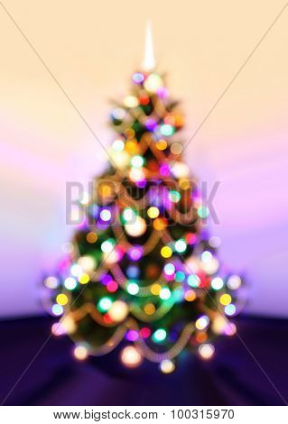 Background of New Year, Christmas tree with defocused lights.