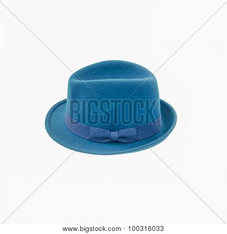 blue fedora hat isolated on white
