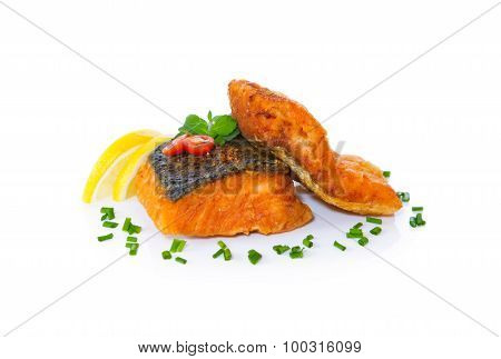 Grilled Fish, Salmon Steak.