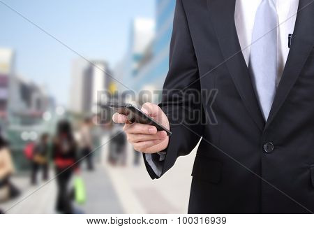 Man Touch Mobile Phone