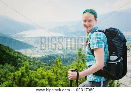 Tourist Hiking In The Italian Alps