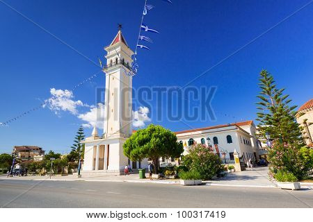 ZAKINTHOS, GREECE - AUG 22, 2015: City hall of Zante town on Zakynthos island, Greece.  Zakynthos city called Zante town is a capital and biggest city of this small greek island.