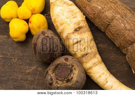 all-natural white carrot, sweet potato and potatoes displayed