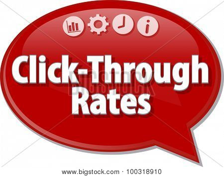 Speech bubble dialog illustration of business term saying Click-Through Rates