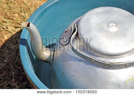 Kettle And Basin Used As Camping Equipment