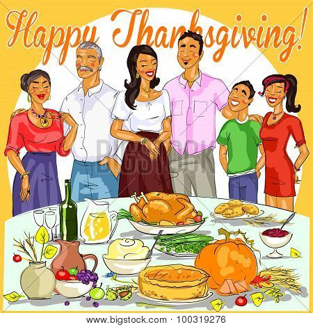 Happy family celebrating Thanksgiving Day.