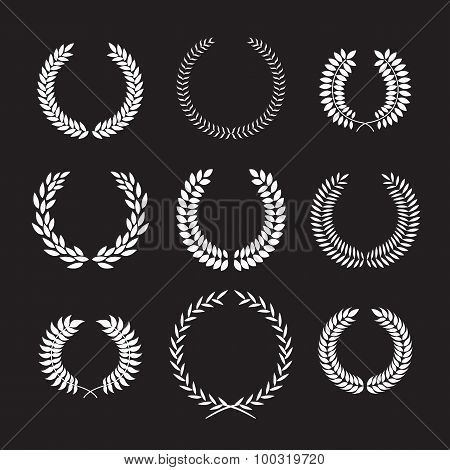 Vector illustration with set of laurel frame.