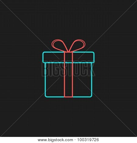 colored outline gift box on black background