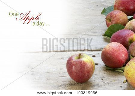 Red Apples On Rustic Gray Wood, Background Fade To White