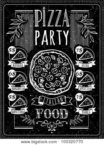 Vector illustration with pizza menu.