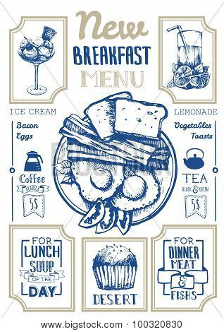 Vector illustration with menu for breakfast.