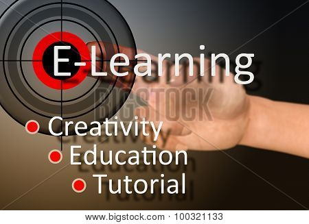 hand pointing at the bull's-eye with the word e-learning