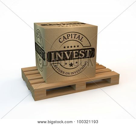 Wooden pallet with a package invest on white background