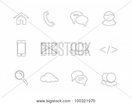 Web, Communication Icons In Flat Design