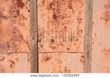 Old Rusty Iron Fence with Boards